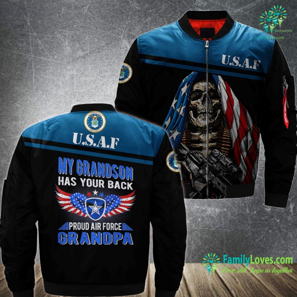Air Force F 22 Mens My Grandson Has Your Back Proud Air Force Grandpa Military Air Force MA1 Bomber Jacket All Over Print Familyloves.com