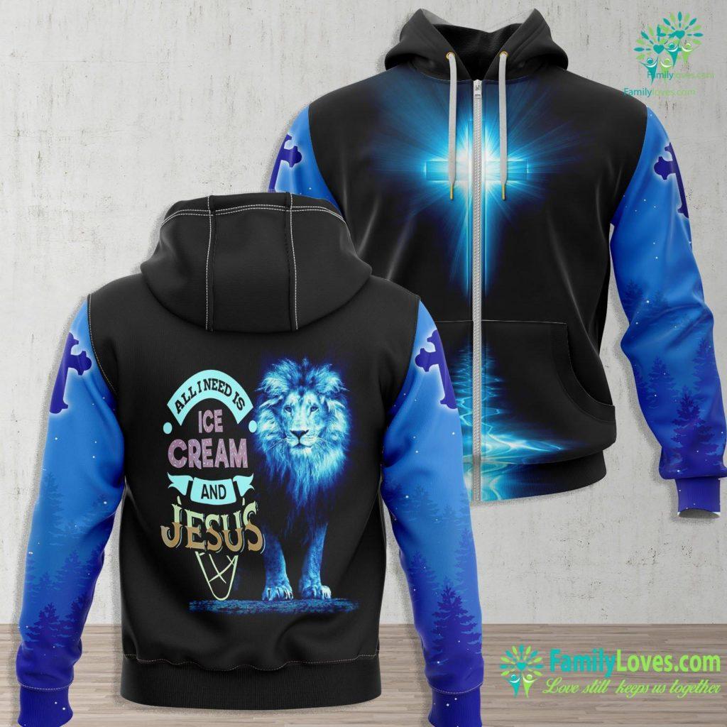 American Gods Jesus All I Need Is Ice Cream And Jesus Christan God Baking Jesus Zip-up Hoodie All Over Print Familyloves.com