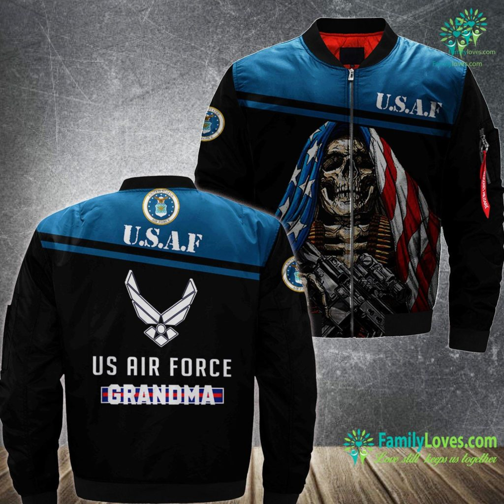 Biloxi Air Force Base Proud Us Air Force Grandma Military Pride Air Force MA1 Bomber Jacket All Over Print Familyloves.com