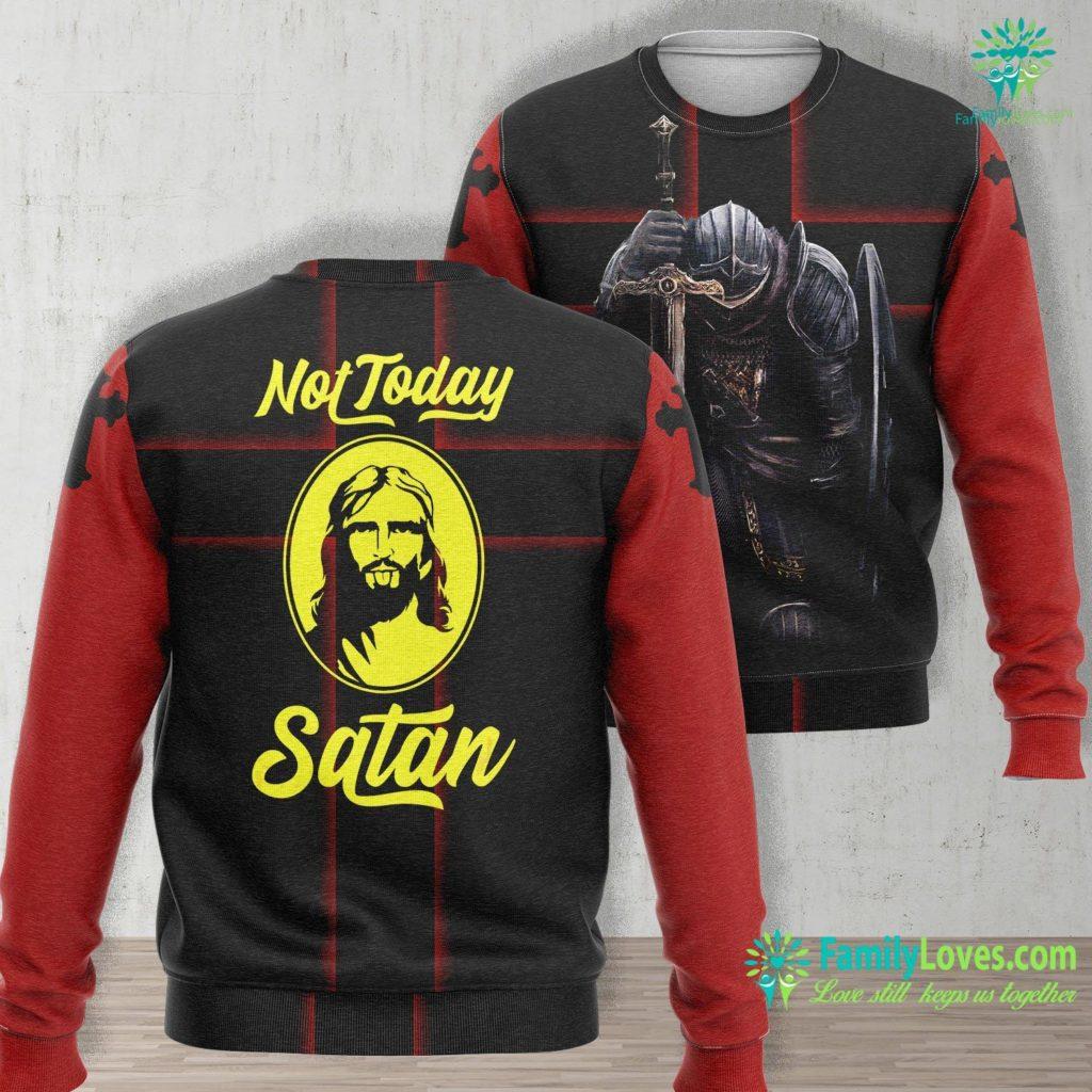 Birth Of Jesus Not Today Satan Funny Saying Jesus Gift Jesus Unisex Long Sleeve Sweatshirt All Over Print Familyloves.com