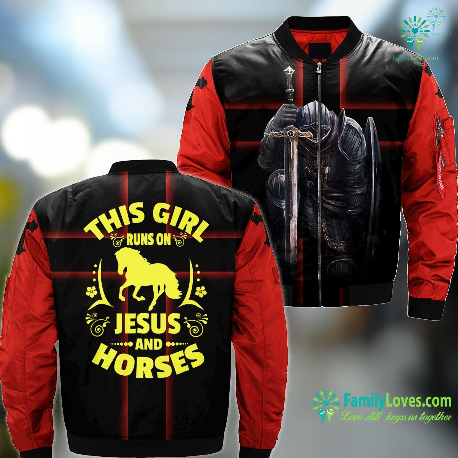 Garden Of Gethsemane This Girl Runs On Jesus And Horses Horse Riding Tee Jesus MA1 Bomber Jacket All Over Print Familyloves.com