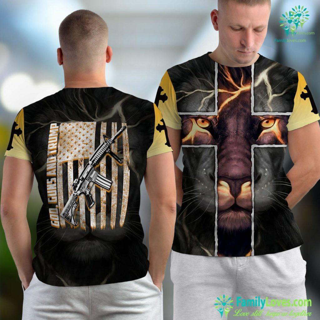 Get Behind Me Satan God Guns And Trump 2Nd Amendment Jesus Unisex T-shirt All Over Print Familyloves.com