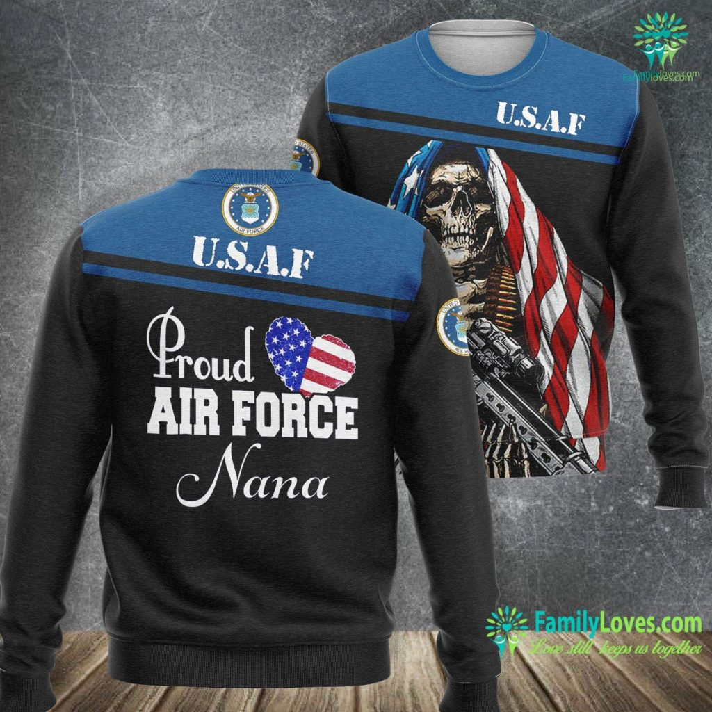 Griffiss Air Force Base Gift For Army Mom Proud Air Force Nana Heart Air Force Sweatshirt All Over Print Familyloves.com