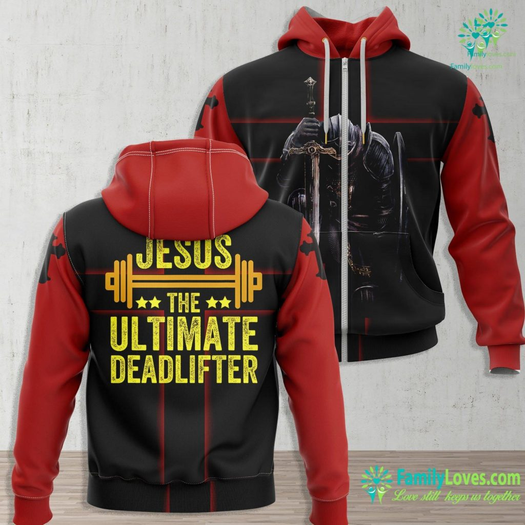 Horus Jesus Jesus The Ultimate Deadlifter Gym Fitness Athlete Jesus Zip-up Hoodie All Over Print Familyloves.com