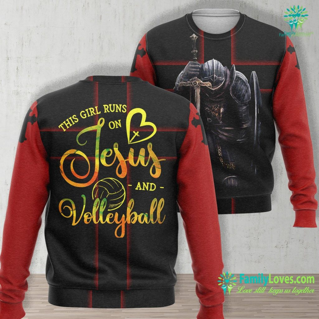 Infancy Gospel Of Thomas This Girl Runs On Jesus And Volleyball Player Christian Gift Jesus Unisex Long Sleeve Sweatshirt All Over Print Familyloves.com