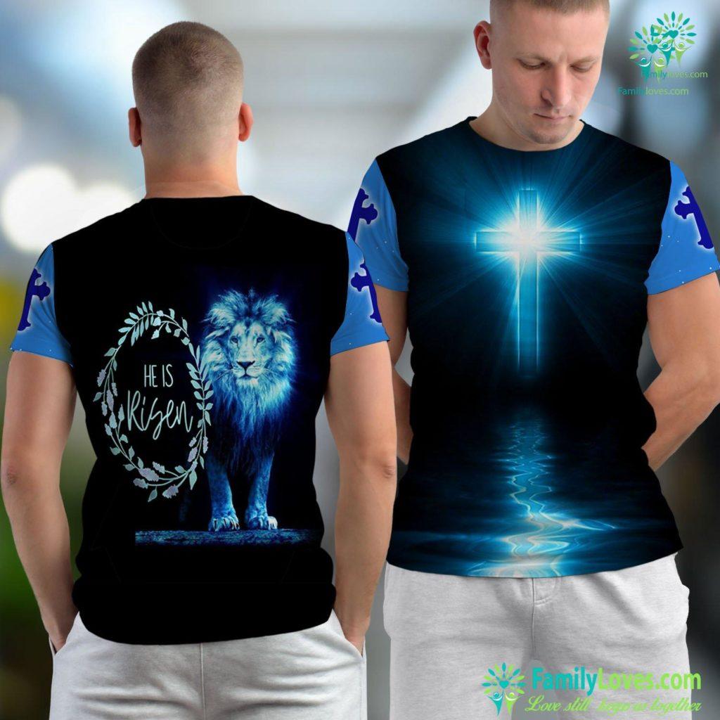 Jesus Camp Easter He Is Risen Christian Gift Jesus Religious Jesus Unisex T-shirt All Over Print Familyloves.com