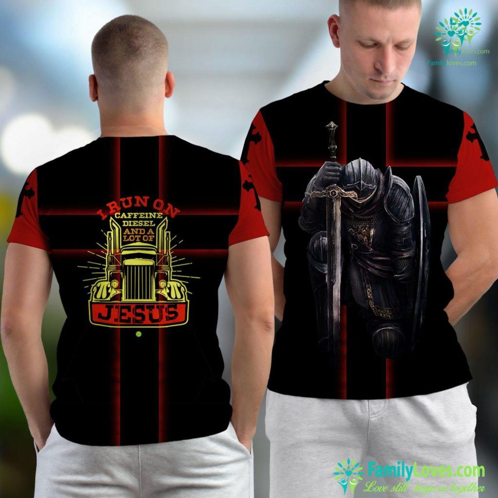 Jesus Center Mens Caffeine Diesel Jesus Christian Trucker Gift Jesus Unisex T-shirt All Over Print Familyloves.com