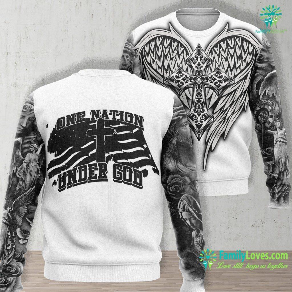 Jesus Christ In Heaven One Nation Under God Jesus Unisex Long Sleeve Sweatshirt All Over Print Familyloves.com
