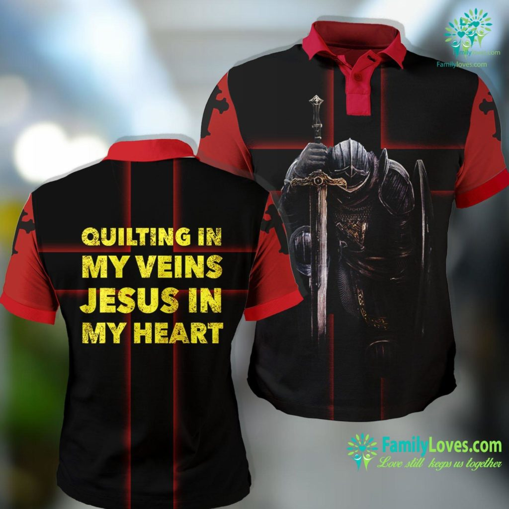 Jesus Freaks Quilting In My Veins Jesus In My Heart Result Jesus Polo Shirt All Over Print Familyloves.com