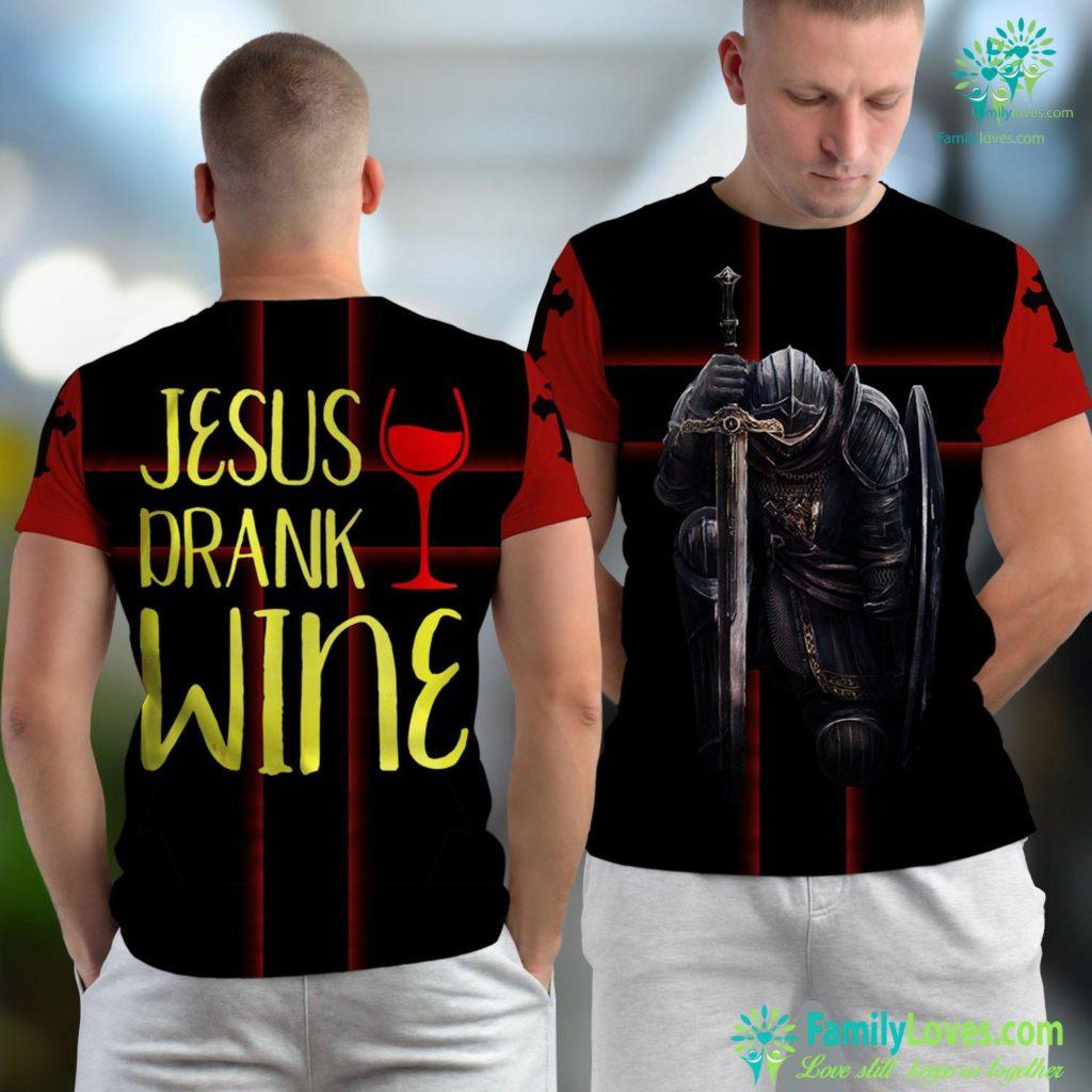 Jesus Is Coming Jesus Drank Wine Christian Drinking Jesus Unisex T-shirt All Over Print Familyloves.com