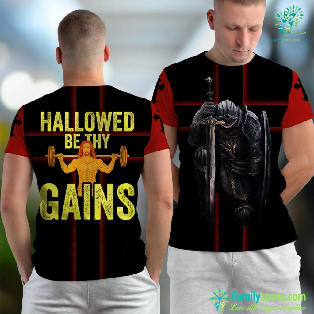 Jesus Is Coming Soon Hallowed Be Thy Gains Funny Muscle Work Out Jesus Gym Jesus Unisex T-shirt All Over Print Familyloves.com
