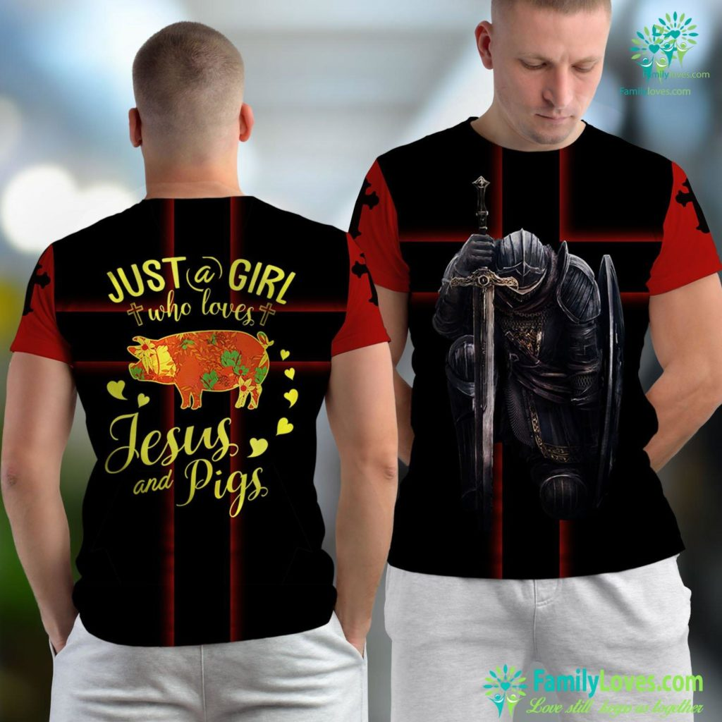 Jesus Never Existed Just A Girl Who Loves Jesus And Pigs Farmer Lover Jesus Unisex T-shirt All Over Print Familyloves.com