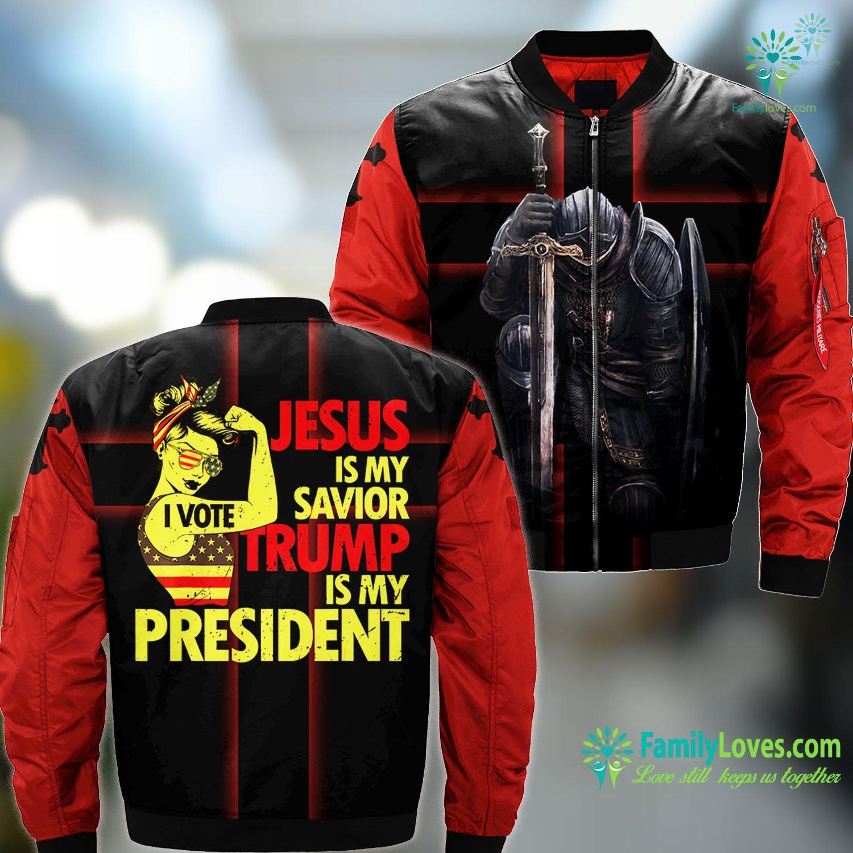 Jesus Prayer Lady Jesus Is My Savior Trump Is My Presiden Jesus MA1 Bomber Jacket All Over Print Familyloves.com