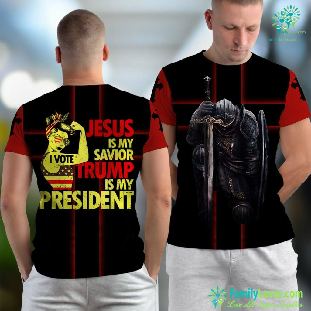 Jesus Prayer Lady Jesus Is My Savior Trump Is My Presiden Jesus Unisex T-shirt All Over Print Familyloves.com