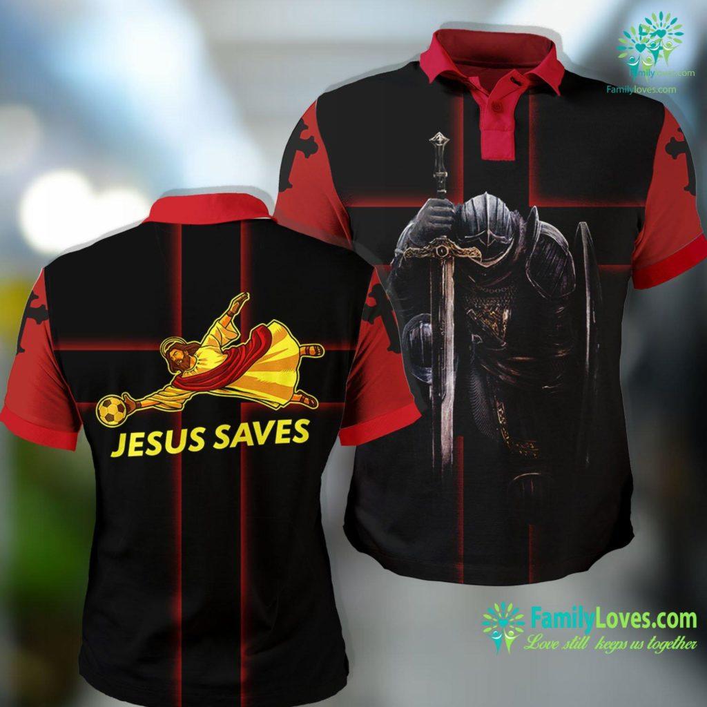 Jesus Sacred Heart Jesus Saves Funny Soccer Goalie Jesus Polo Shirt All Over Print Familyloves.com