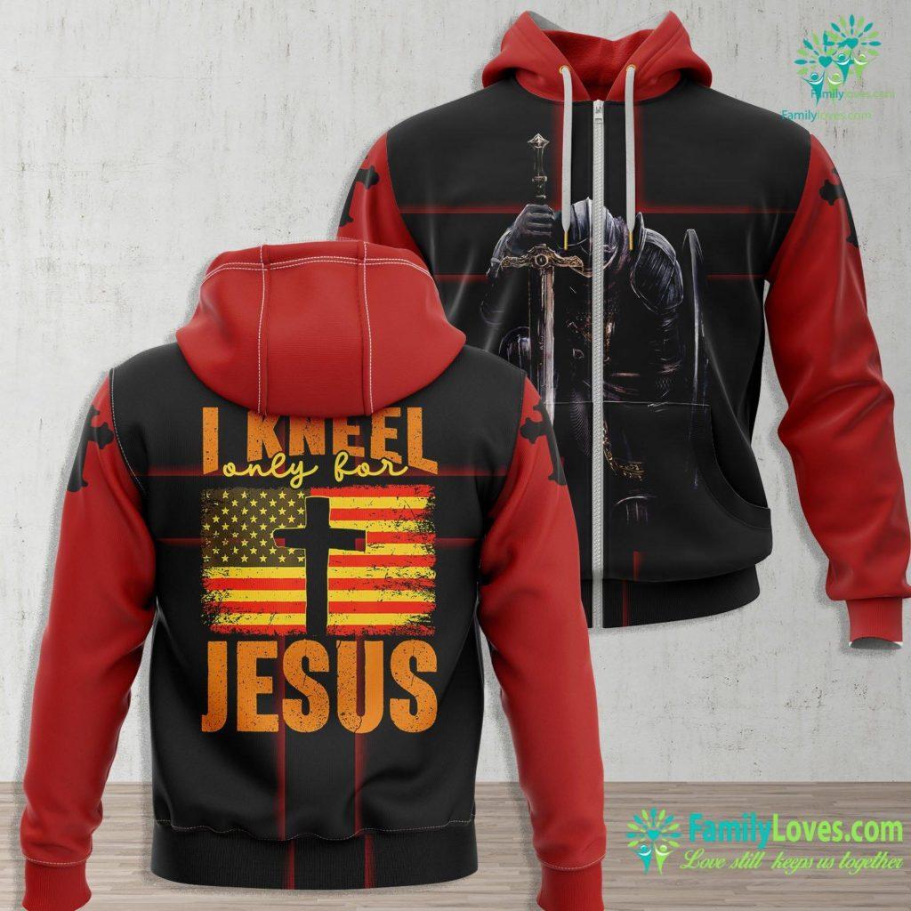Jesus Story For Kids I Kneel Only For Jesus Christian Faith Flag Cross Gift Jesus Zip-up Hoodie All Over Print Familyloves.com