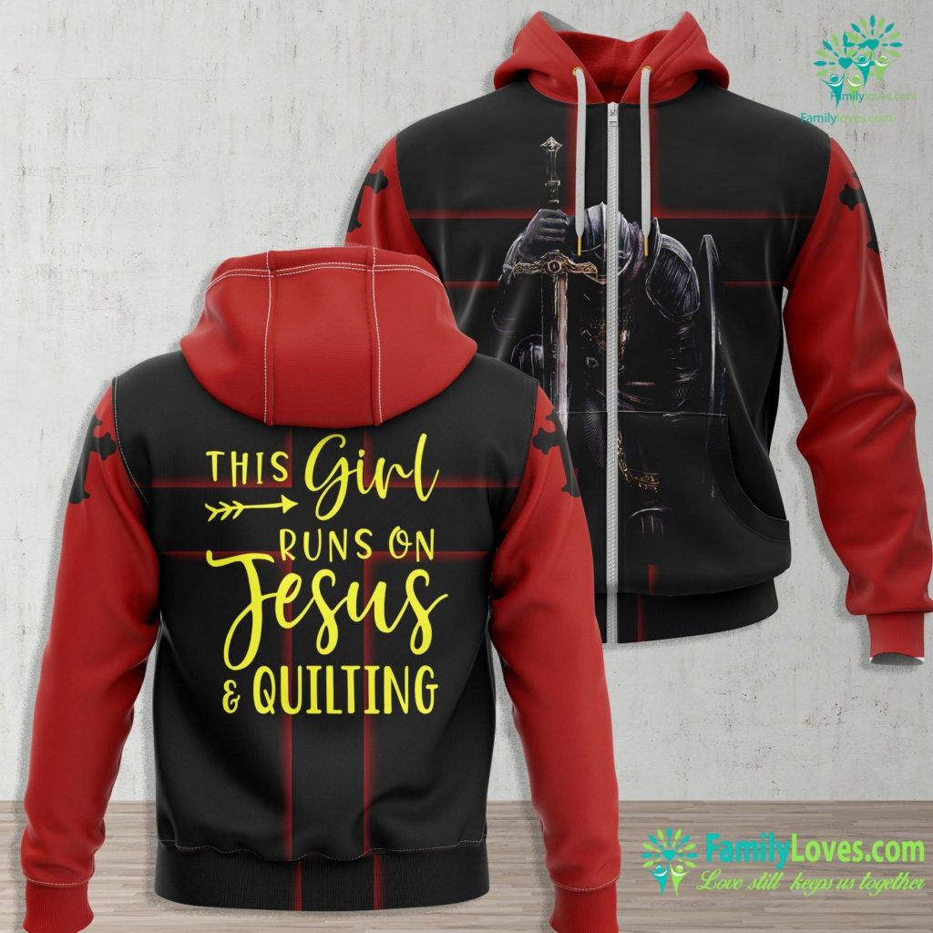 Jesus Walking On Water This Girl Runs On Jesus And Quilting Result Jesus Zip-up Hoodie All Over Print Familyloves.com