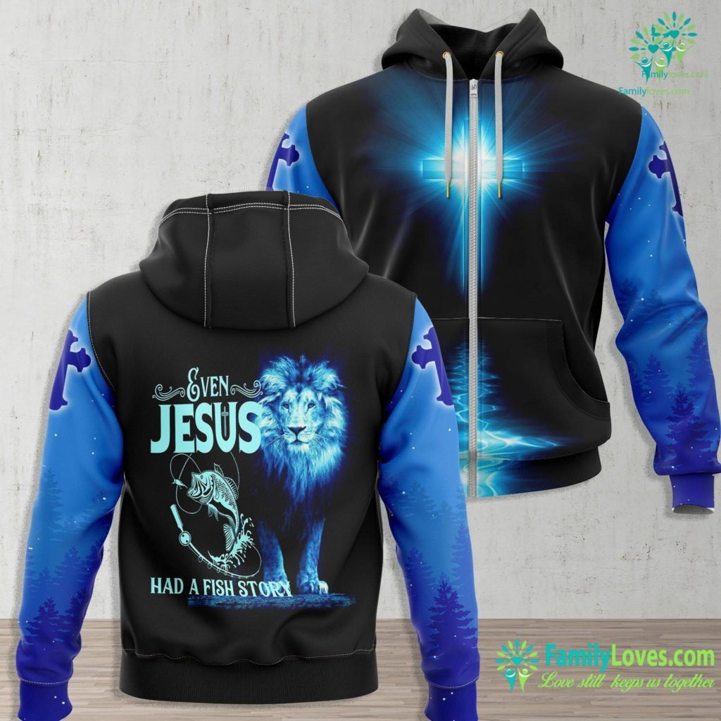 John 20 Funny Fishing Even Jesus Had A Fish Story Funny Jesus Zip-up Hoodie All Over Print Familyloves.com