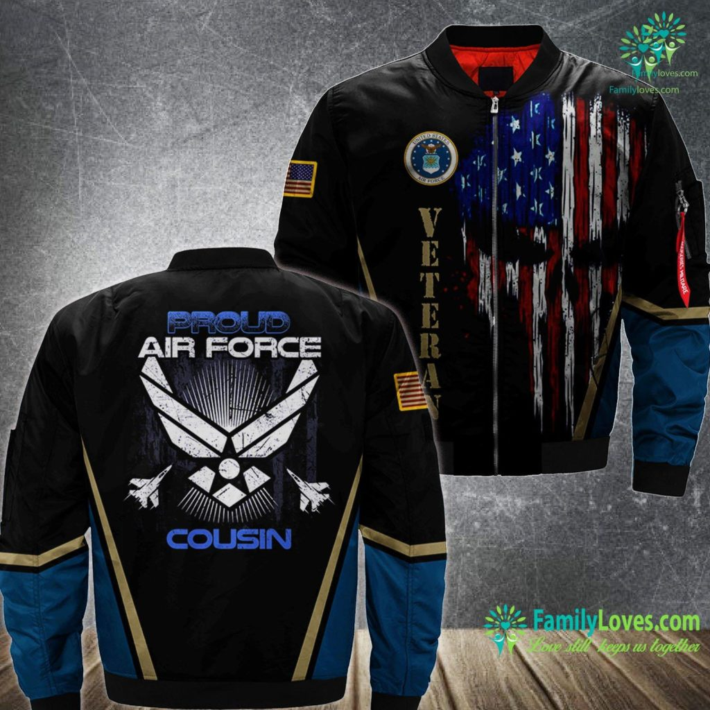 Langley Air Force Base Hospital Proud Air Force Cousin Veterans Day S Air Force MA1 Bomber Jacket All Over Print Familyloves.com