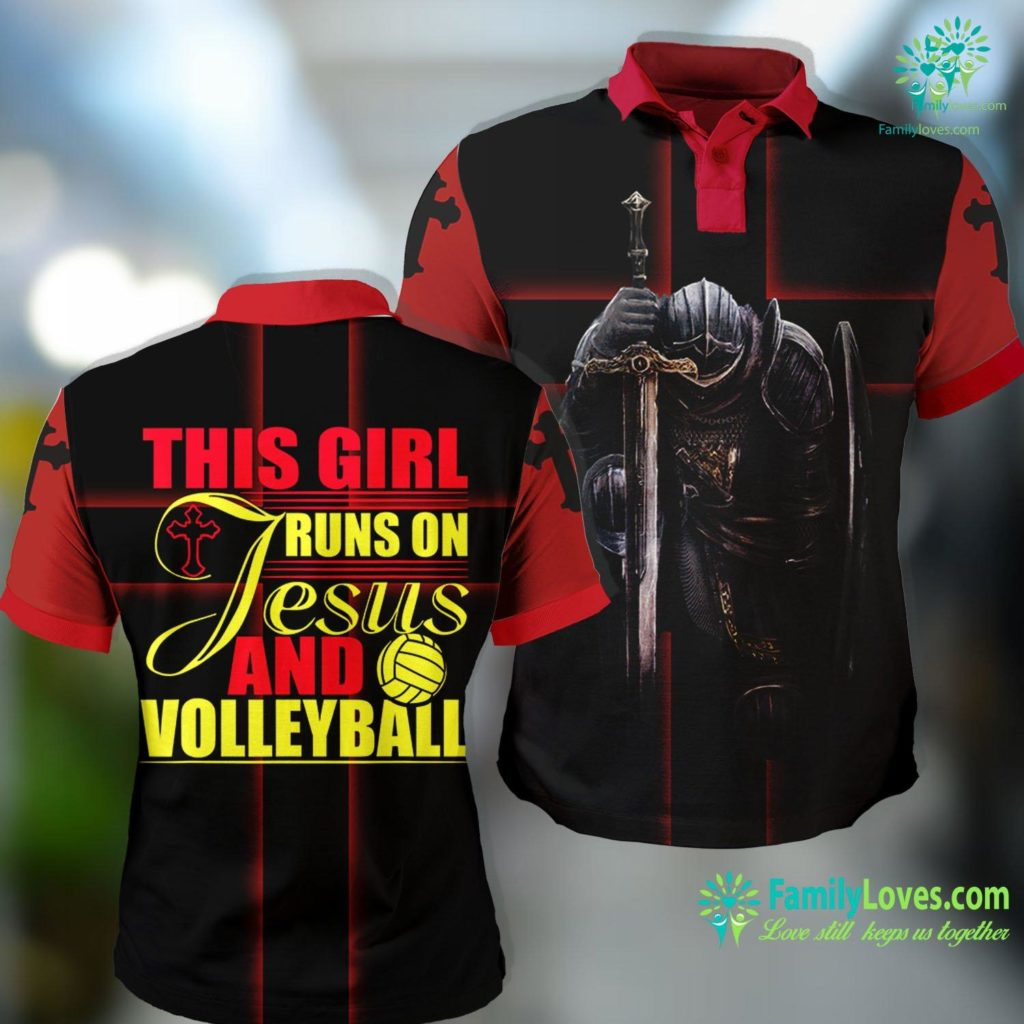 Lazarus Bible This Girl Runs On Jesus And Volleyball Christian God Gift Jesus Polo Shirt All Over Print Familyloves.com