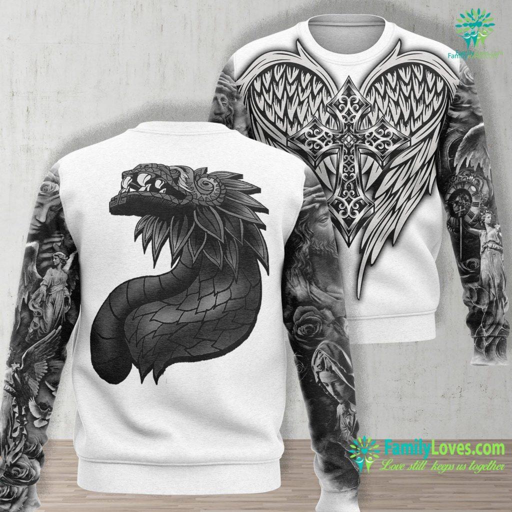 Luke 24 Aztec God Quetzalcoatl Cool Snake Dragon Inca Maya Gift Idea Jesus Unisex Long Sleeve Sweatshirt All Over Print Familyloves.com