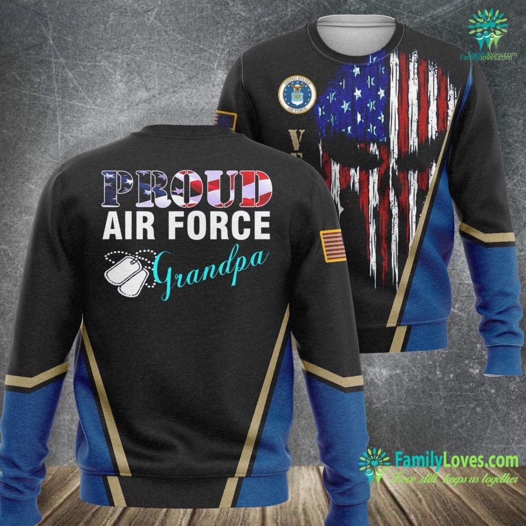 Macdill Air Force Base Proud Air Force Grandpa With American Flag Veteran Air Force Sweatshirt All Over Print Familyloves.com