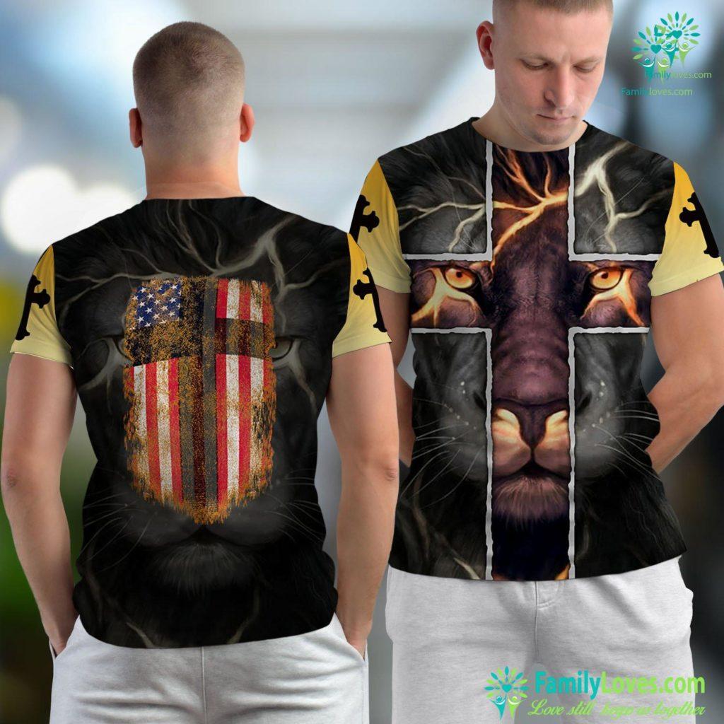 Marcus Borg American Flag Cross For Patriotic Usa Christians God Jesus Unisex T-shirt All Over Print Familyloves.com