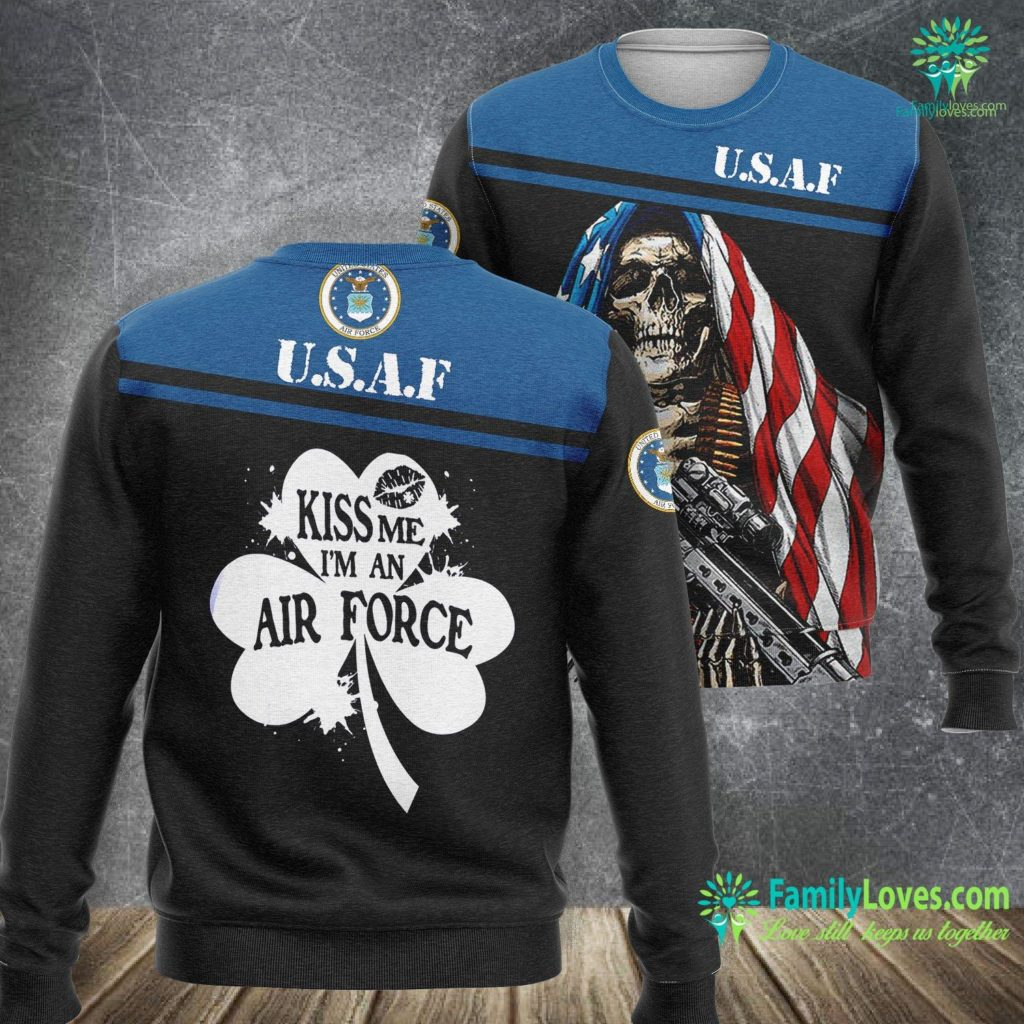 Mississippi Air Force Base Kiss Me I M An Air Force St Patrick S Day Air Force Sweatshirt All Over Print Familyloves.com