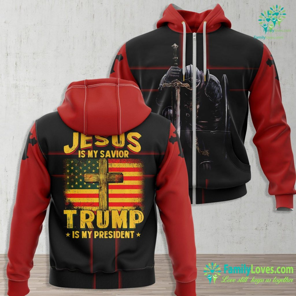Our Lord And Savior Jesus Is My Savior Trump Is My President Squared 2020 Gifts Premium Jesus Zip-up Hoodie All Over Print Familyloves.com