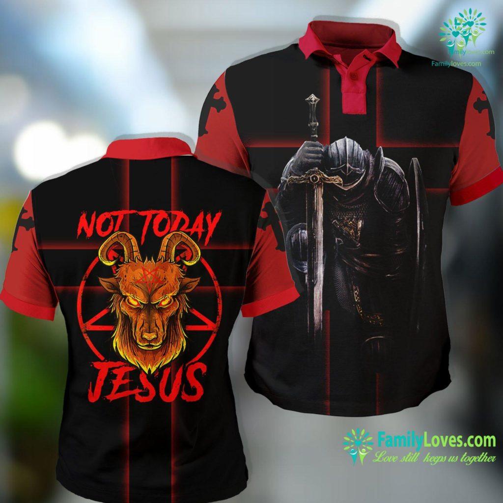 Praise Jesus Not Today Jesus Satan Religion Non Believer Premium Jesus Polo Shirt All Over Print Familyloves.com