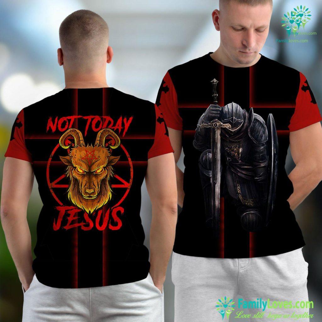 Praise Jesus Not Today Jesus Satan Religion Non Believer Premium Jesus Unisex T-shirt All Over Print Familyloves.com