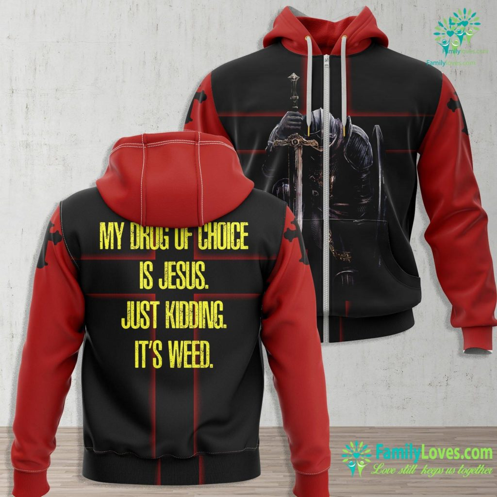Psalm Sunday My Drug Of Choice Is Jesus. Just Kidding Its Weed. Jesus Zip-up Hoodie All Over Print Familyloves.com