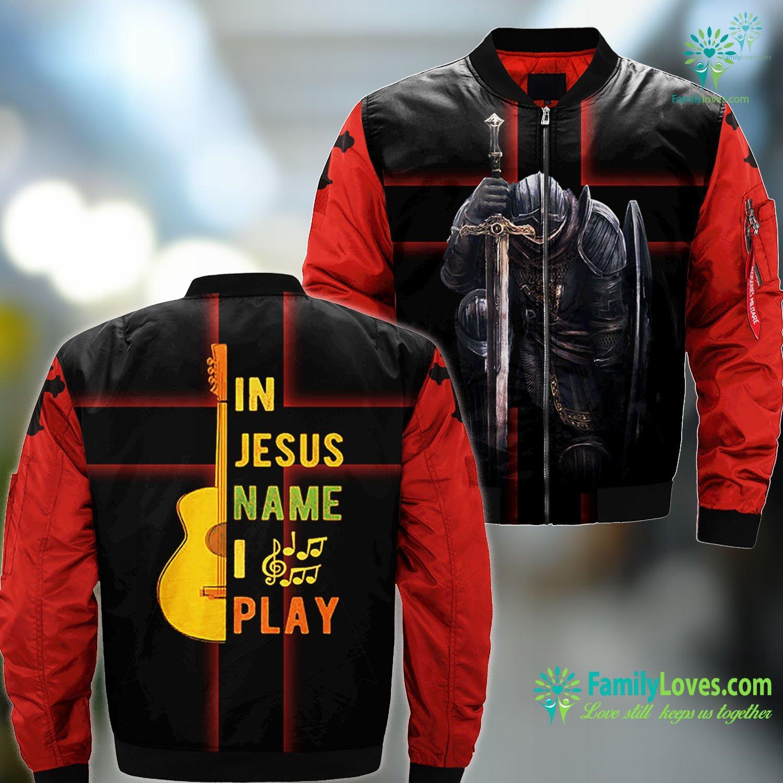 Simon Of Cyrene In Jesus Name I Play Guitar Guitar Lover Gift Tee Jesus MA1 Bomber Jacket All Over Print Familyloves.com