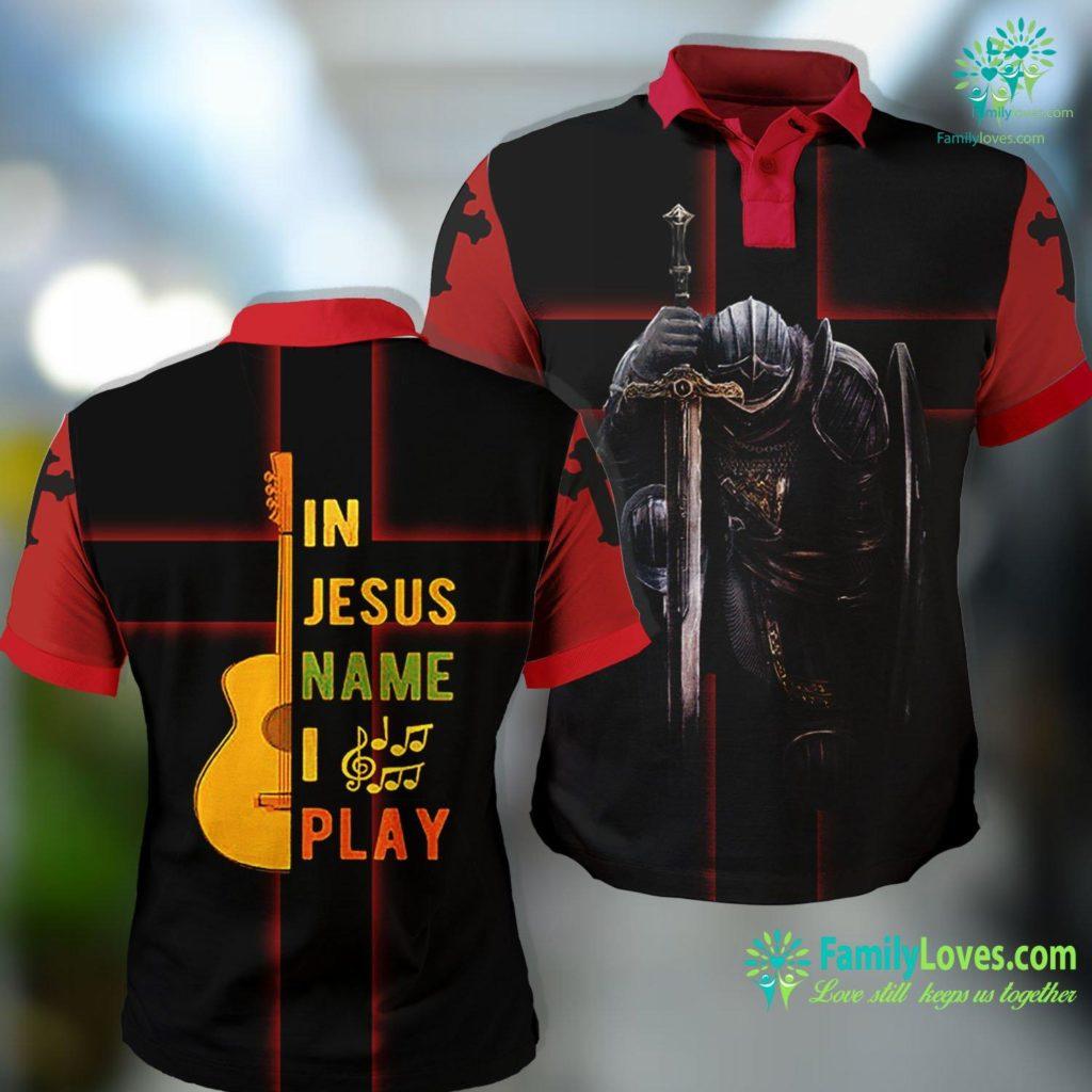 Simon Of Cyrene In Jesus Name I Play Guitar Guitar Lover Gift Tee Jesus Polo Shirt All Over Print Familyloves.com