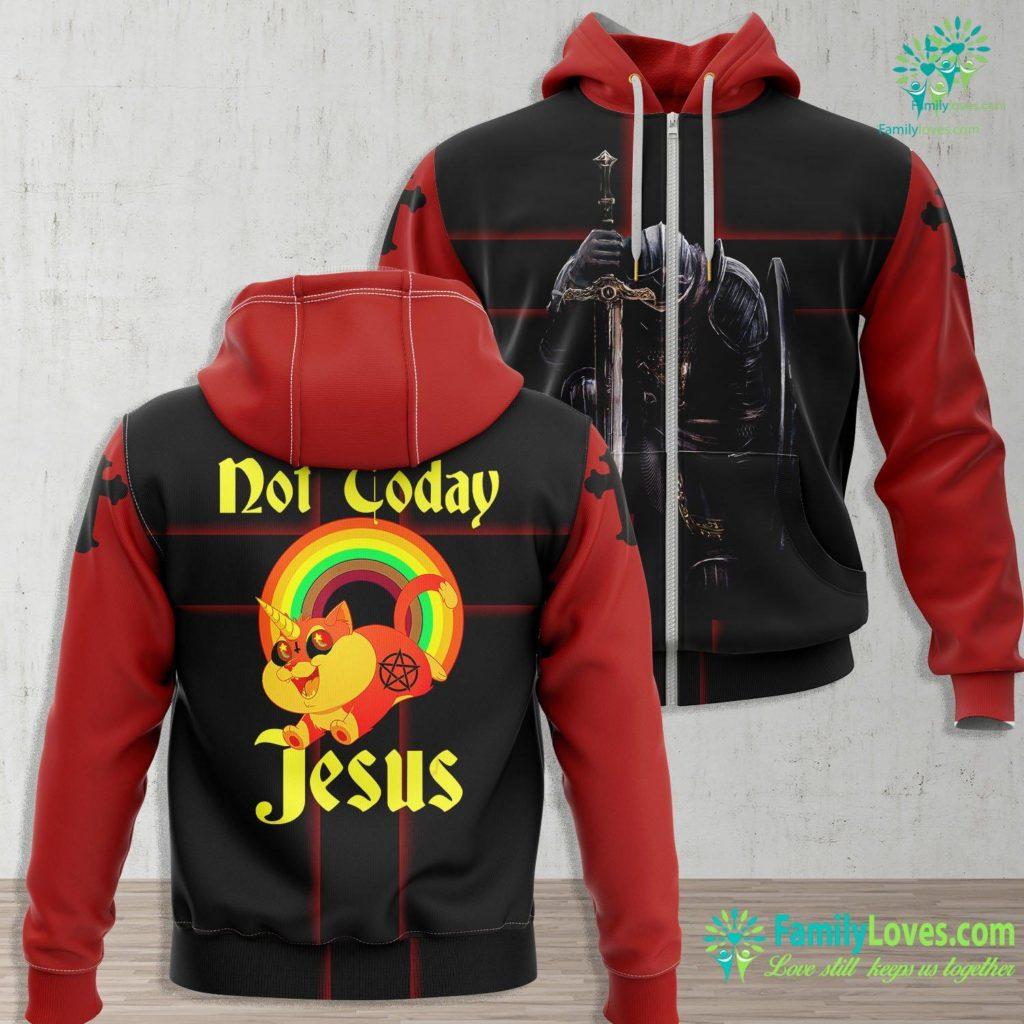 Story Of Lazarus Not Today Jesus Satanic Cat Rainbow Goth Anti Religion Meme Jesus Zip-up Hoodie All Over Print Familyloves.com
