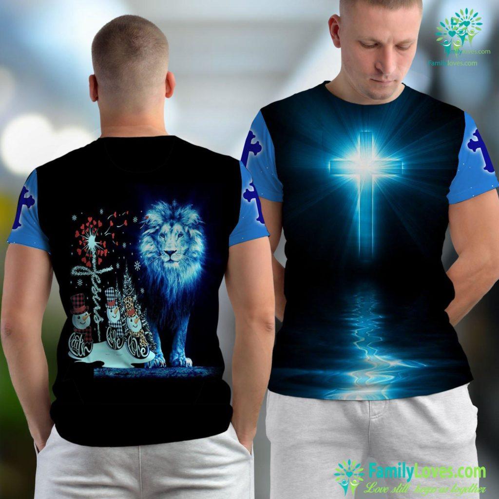Teachings Of Jesus Christ Faith Hope Love Snowman Jesus Dandelion Christian Christmas Jesus Unisex T-shirt All Over Print Familyloves.com