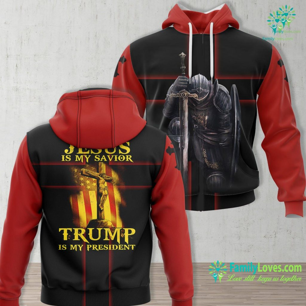 The Way The Truth And The Life Jesus Is My Savior Trump Is My President American Flag Jesus Unisex Hoodie All Over Print Familyloves.com