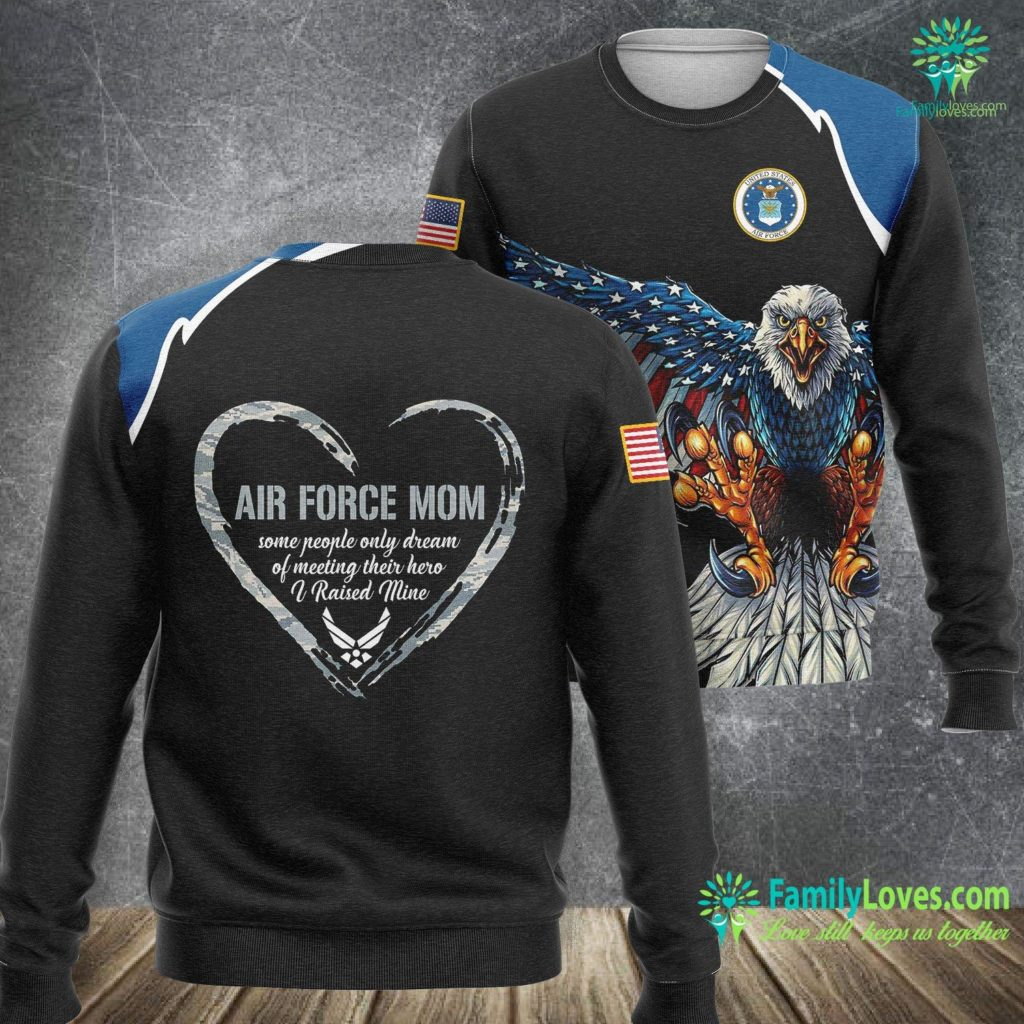 Top Air Force Jobs Air Force Mom Heart Gift Proud Military Mom 4Th Of July Air Force Sweatshirt All Over Print Familyloves.com