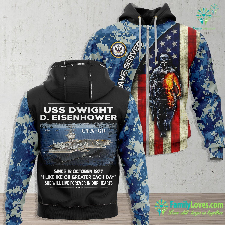 Us Navy Submarine Uss Dwight D Eisenhower Cvn 69 Us Navy Navy Zip-up Hoodie All Over Print Familyloves.com