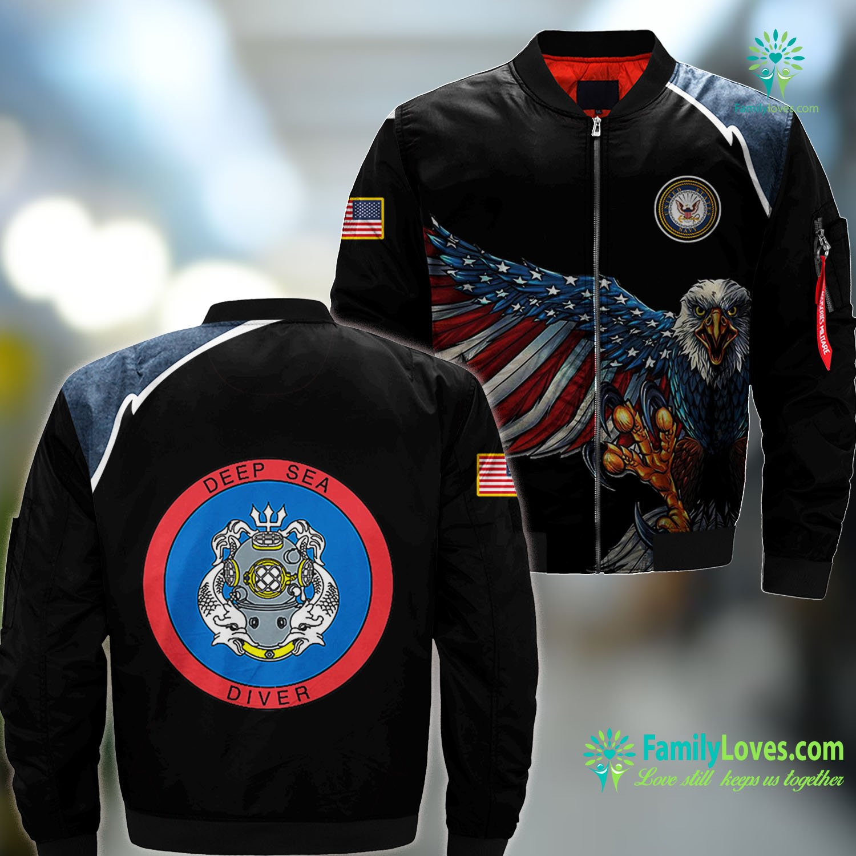 Us Navy Symbol Deep Sea Diver Us Navy Coast Guard Master Navy MA1 Bomber Jacket All Over Print Familyloves.com