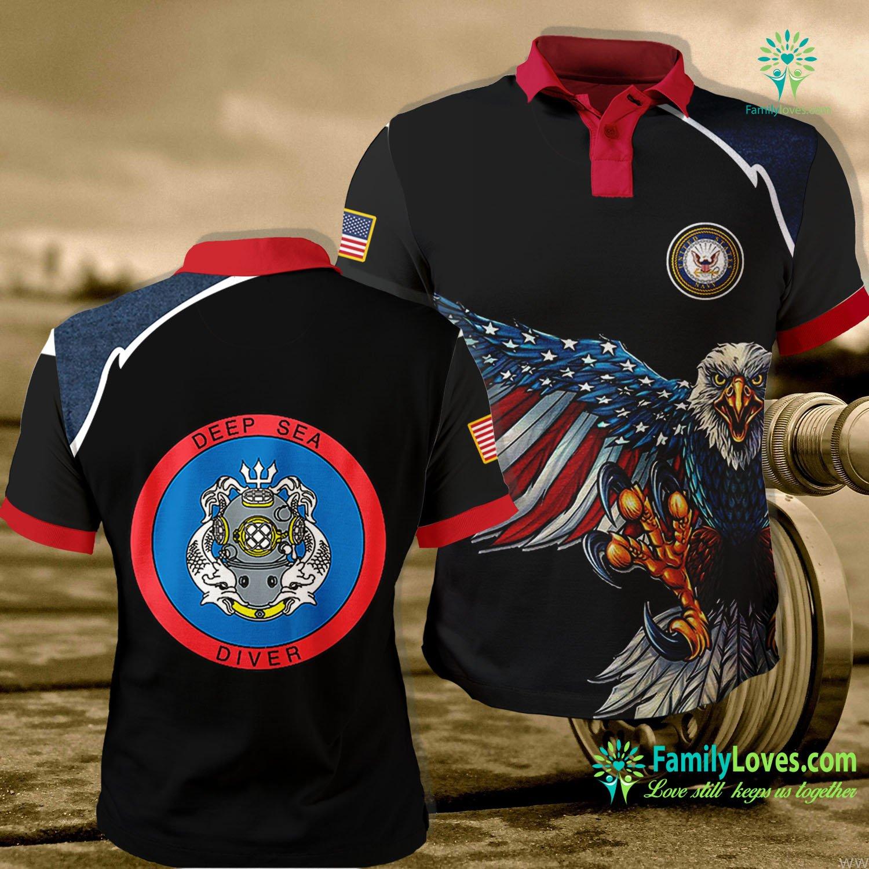 Us Navy Symbol Deep Sea Diver Us Navy Coast Guard Master Navy Polo Shirt All Over Print Familyloves.com