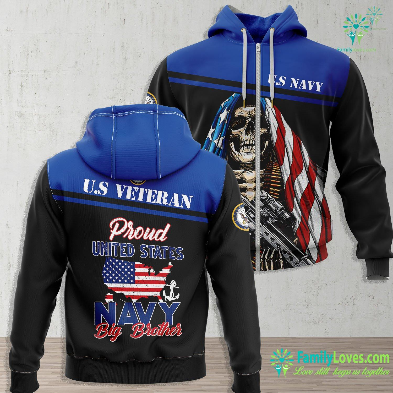Us Navy T Shirt Proud Navy Big Brother Us Flag Family S Army Military Navy Zip-up Hoodie All Over Print Familyloves.com