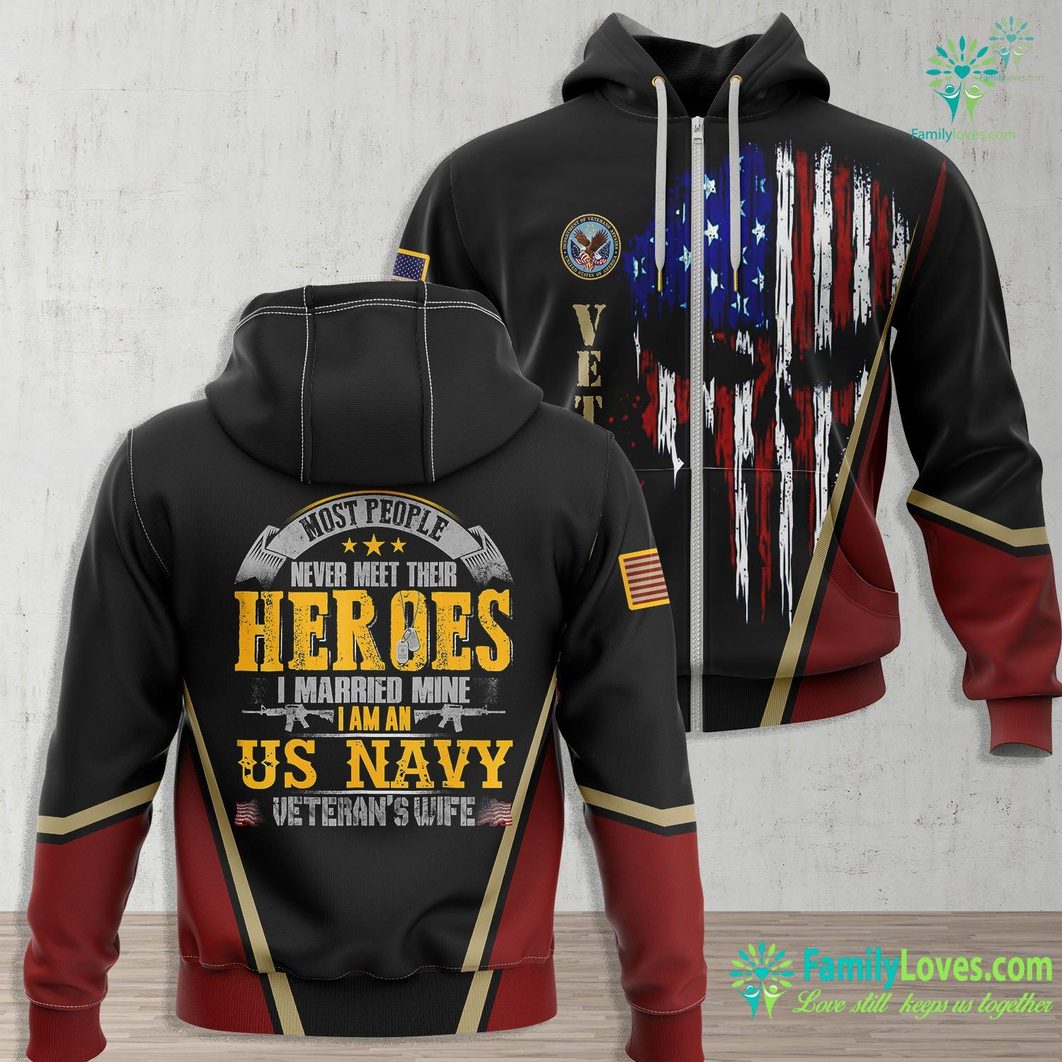 Us Navy Under Armour I Was Raised By My Heros Im An Us Navy Veterans Wife Tee Navy Zip-up Hoodie All Over Print Familyloves.com