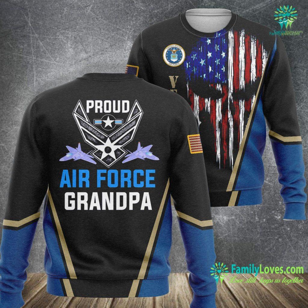Usa Air Force Flag Proud Air Force Grandpa Veteran Pride Tee Air Force Sweatshirt All Over Print Familyloves.com