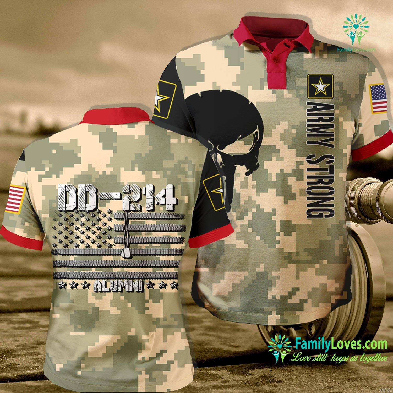 Veteran T Shirts Dd 214 Us Army Alumni Vintage Tee Veteran Day Gift Army Polo Shirt All Over Print Familyloves.com
