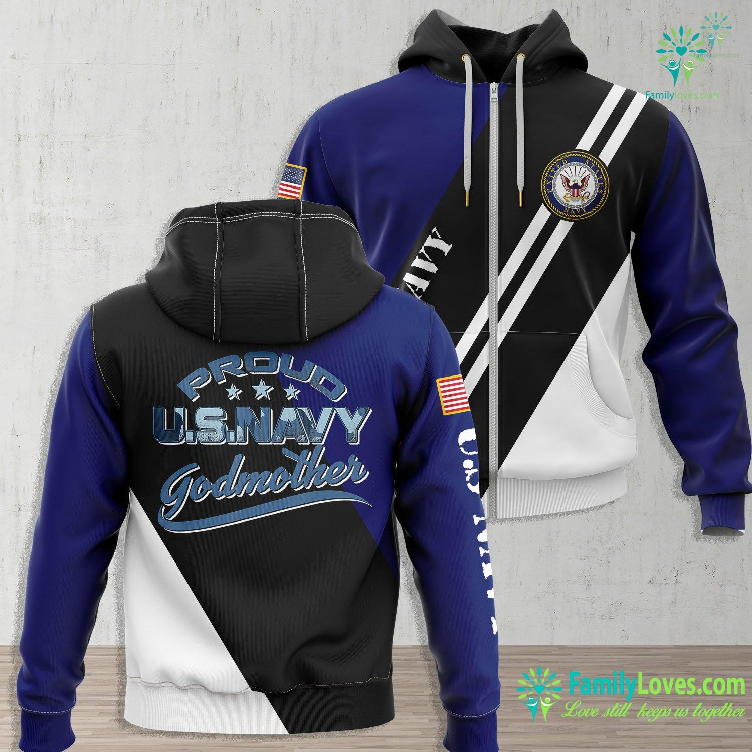 When Was The Us Navy Established Us Navy Matching Family Proud Navy Godmother For Her Navy Zip-up Hoodie All Over Print Familyloves.com