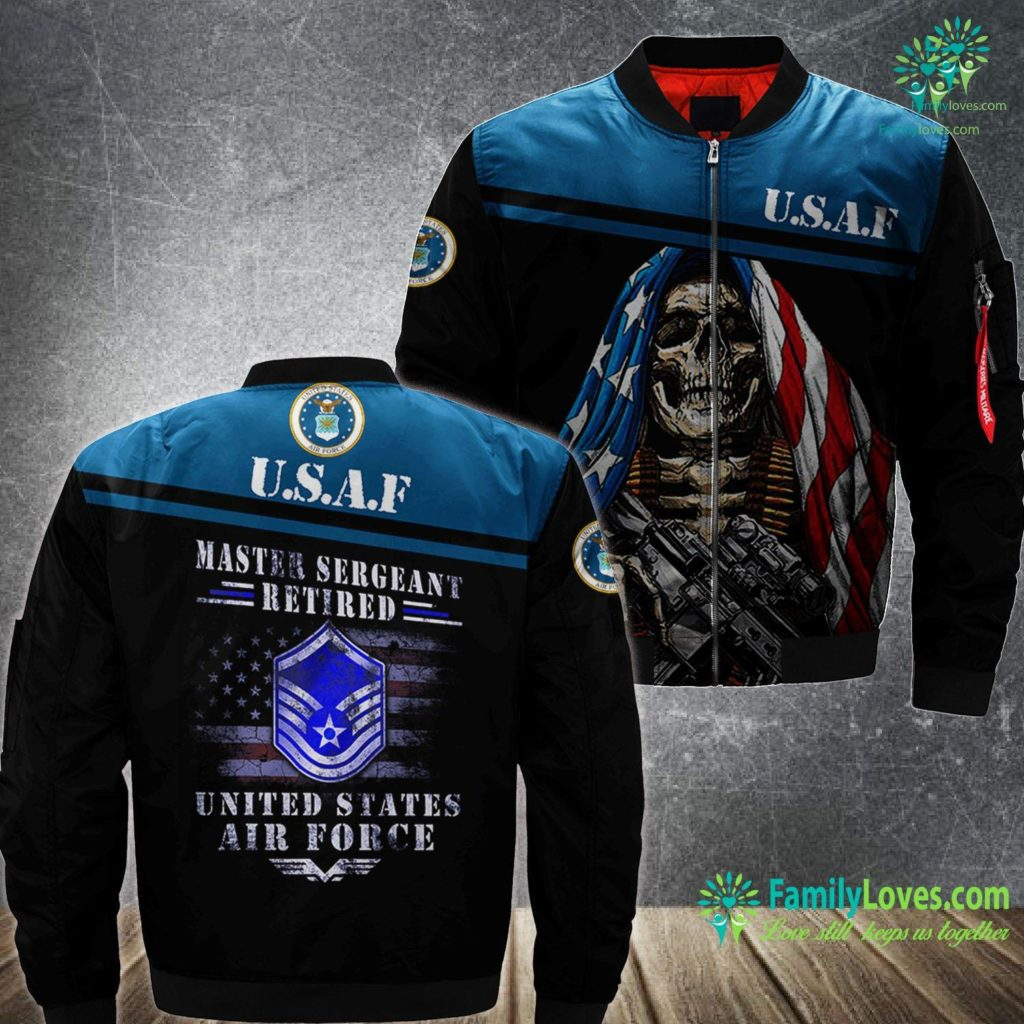 Why Is Air Force One Blue Master Sergeant Retired Air Force Military Retirement Air Force MA1 Bomber Jacket All Over Print Familyloves.com