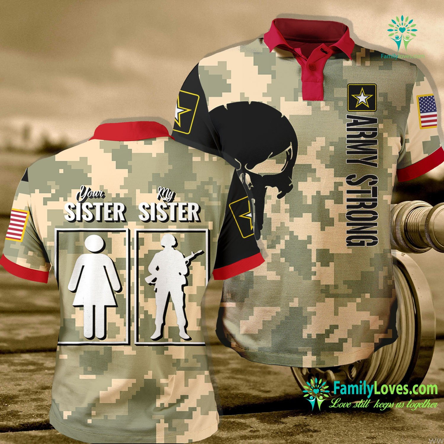 Wwii Us Army Uniform My Sister Is In Army Military Proud Brother Gifts Army Polo Shirt All Over Print Familyloves.com