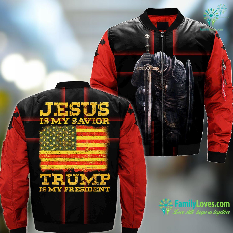 Yeshua Ben Yosef Jesus Is My Savior Trump Is My President Tee Trump 2020 Gift Jesus MA1 Bomber Jacket All Over Print Familyloves.com