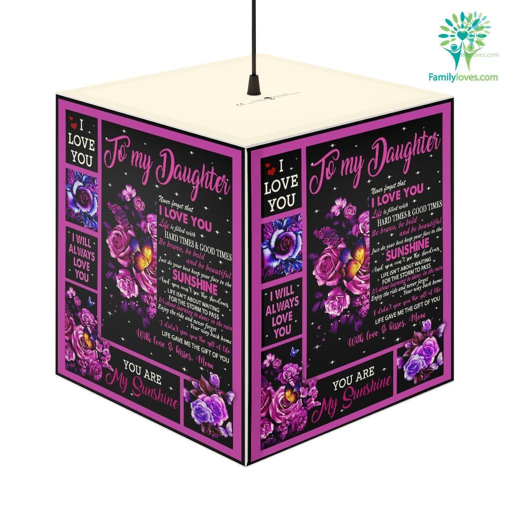 Flower Butterfly To My Daughter Never Forget That I Love You Personalized Lamp Familyloves.com